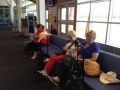 Marie Deidre and Lynda at the airport