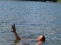 Sandy starts her synchronized swimming routine