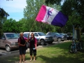 Char and Joanie with the Flag
