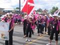 Deidre Waves the Calgary Flag
